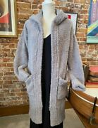 Barefoot Dreams Cozychic Nor-cal Coat Dove Gray New Long Cardigan Hooded