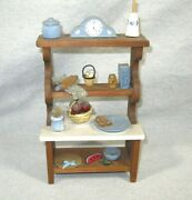 Miniature Dollhouse Country Kitchen Wood Cabinet Cupboard W/ Accessories