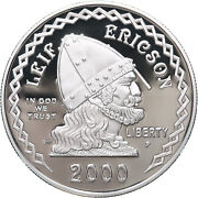 2000 P Leif Ericson Proof Commemorative 90 Silver Dollar Us Coin