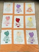 1930s And039sunbonnet Sueand039 Partial Quilt Top Hand Applique Hand Embroidered 39x59