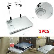 Auto Car Seat Back Tray Table Laptop Notebook Desk Food Drink Cup Holder Silver