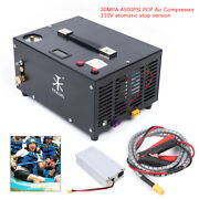 110v 4500psiportable Air Compressor 30mpa Automanual Stop For Pcp Paintball Tank