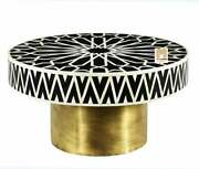 Bone Inlay Coffee Table Striped Round Designer Customize With Insurance Decor S