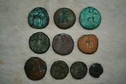 Lot Sale 10 Genuine Ancient Roman And Indo Greek Bronze Coins Uncleaned