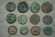 Lot Sale 12 Genuine Ancient Roman And Indo Greek Bronze Coins Uncleaned Condition