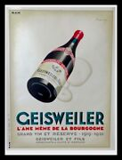 Original Vintage Wine Poster Geisweiler French Bourgogne Wine By Marton C1930