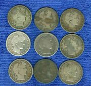Usa Barber Half Dollar Lot Of 9 Silver Coins 1899 - 1911