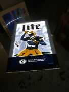 Miller Lite Beer Sign Led Light Up Of The Green Bay Packers Lambeau Leap New Box