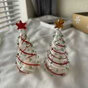 Pier 1 Glass Christmas Tree Salt And Pepper Shakers