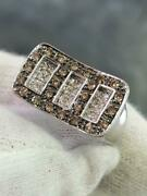 14k White Gold Genuine Champagne And White Diamonds Pave Halo Band Ring Sz 6.5