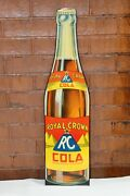 1940s Rc Royal Crown Cola Bottle Shaped Tin Advertising Sign By Donaldson