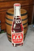 1950s Triple Aaa Root Beer Soda Diecut Bottle Shaped Tin Advertising Sign