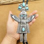 Native American Navajo Huge Sterling Silver Turquoise Kachina Leather Bolo Tie