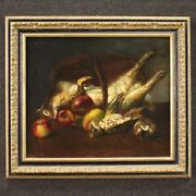 Still Life Painting Oil On Canvas Framework Frame Antique Style 20th Century