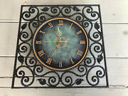 Nos Danish Hand Hammered Black Wrought Iron Wall Clock New Movement 6 Lbs Gold