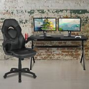 Gaming Desk And Black Racing Chair Set /cup Holder/headphone Hook/removable Mouse