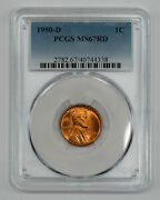 1950 D Lincoln Wheat Cent Penny 1c Pcgs Ms 67 Red Mint State Unc 338