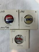 1948 Lot Of 3 Dewey And Warren Presidential Button Campaign Pin-back  2