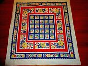 Vintage Tablecloth Wilendur Flowers In 3 Sets Of Blocks 51 X 46 Great Style