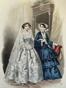 French Antique Hand Coloured Plate From 1851 Les Modes Parisiennes 417 Bride