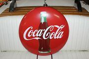 1950and039s Vintage Coca-cola Porcelain Round Button 24 With Bottle Logo