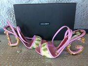 Dolce And Gabbana Structured Heel Logo Sandals Size 40 New In Box