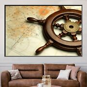 Helm On Navigation Map Antique And Vintage World Maps Canvas Art Print For Wall