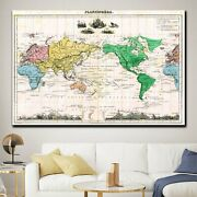 1870 World Map Antique And Vintage World Maps Canvas Art Print For Wall Decor