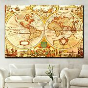 Rustic Old World Map Antique And Vintage World Maps Canvas Art Print For Wall De