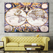 Ancient Map Of The World Antique And Vintage World Maps Canvas Art Print For Wal