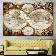 Medieval Map Of The World Antique And Vintage World Maps Canvas Art Print For Wa