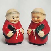 Hummel Goebel Red Cardinal Tuck Friar Monk Salt And Pepper Shakers - With Books