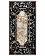 4and039x2and039 Antique Coffee Marble Table Top Pietra Dura Inlay Home Decor Mosaic