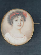 French Miniature Portrait Painting Young Girl 18 K Gold Signed Despierres 18 Th