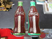 Coca Cola Pair Of 1950and039s Tin Thermometers 16.5 Inch Near Mint Never Used Works