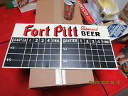 Fort Pitt Beer Football And Baseball Double Sided Tin Sign 1949 Nice Cond 23 X 11