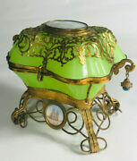 French 19th Century Bronze And Glass Jewelry Box With Hand-painted Inserts