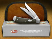 Case Xx Wharncliffe Mini Trapper Knife Ebony Wood Stainless Pocket Knives 07211