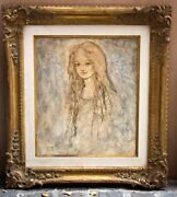 Magnificent French O/c Painting Of A Girl By Milan 1971 Listed Artist