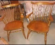 Nichols And Stone Set Of 2 Windsor Captainand039s Chairs / Dining Arm Chairs