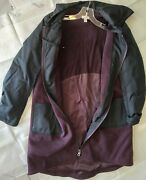 Logo Lori Goldstein Color Blocked Coat W/ Hood And Pockets Black Cherry S A373334