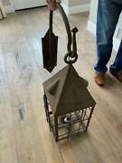 Large Rare Unique Wrought Iron Vintage French Wall Lantern