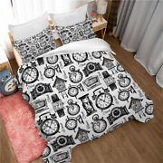 Clocks And Watches Bedding Set 3d Art Print Duvet Cover And Pillowcase Twin Full