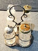 Vintage Cruet Set Pressed Glass And Stainless/pewter 5 Piece