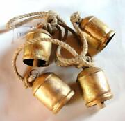 Art Wrought And Cast Iron Hanging Cow Bells 75 Cm , Golden