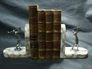Interesting Old Art Deco Man Woman Playing Golf Bronze Nickel Plated Book Ends