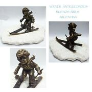 Nice Old Skier Girl Bronze On Carrara Marble Base Sky Track Slope Rare And Funny