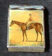 Interesting Old French Silver Enamel Vesta Case With Horses Equestrian Hippic