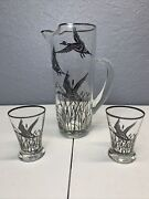Vintage Gray Goose Vodka Pitcher With 2 Shot Glasses With Silver Overlay Glass