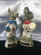 Vintage 1968 Political Jim Beam Decanters Elephant And Donkey Clowns